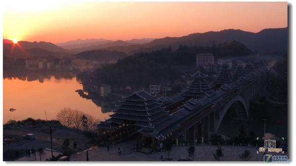 夕照 三江风雨桥